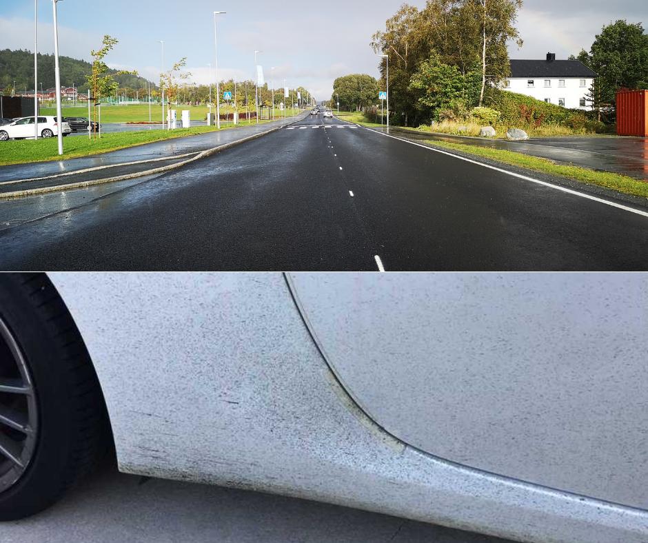 Sorte prikker etter asfalt